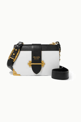 Prada Cahier Large Two-tone Leather Shoulder Bag - White