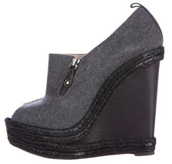 Christian Louboutin  Christian Louboutin Felt Wedge Booties