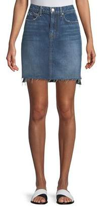 7 For All Mankind Side-Panel A-Line Denim Skirt w/ Raw-Edge Hem