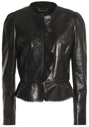 Roberto Cavalli Lace And Ruffle-Trimmed Leather Jacket