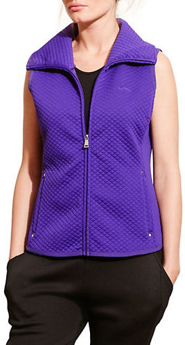 Lauren Ralph Lauren Quilted Jacquard-Knit Zip-Up Vest