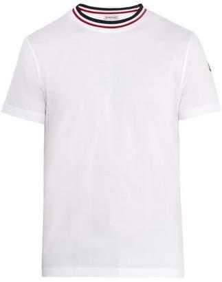 Moncler - Contrast Neck Cotton T Shirt - Mens - White