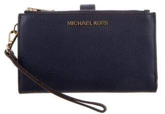 Michael Kors Textured Leather Wallet Navy Textured Leather Wallet