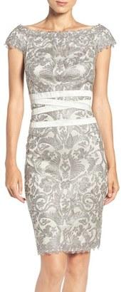 Women's Tadashi Shoji Embroidered Off The Shoulder Mesh Sheath Dress $348 thestylecure.com