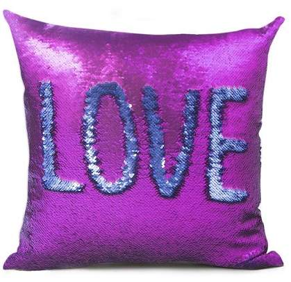 GlowSol Sequins Double Layer Double Color Variable Back Cushion Pillow 40*40CM purple and blue