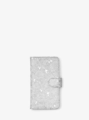 Michael Kors Floral Metallic Leather Folio Case For Iphone X