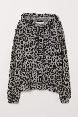 H&M Fine-knit Hooded Top - Gray