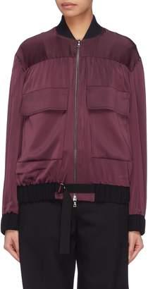 Victoria Beckham VICTORIA, Flap pocket buckled satin crepe bomber jacket