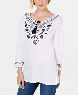 Charter Club Petite Cotton Embroidered Peasant Top