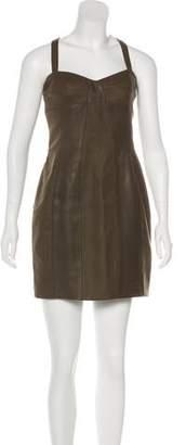 Joseph Leather-Trimmed Wool Dress