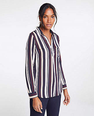 Ann Taylor Stripe Camp Shirt