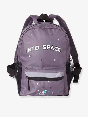 Backpack for Boys, Into space - grey dark solid with design