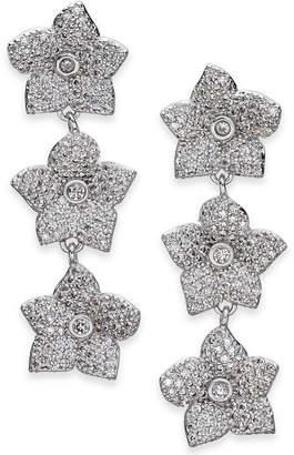 Kate Spade Silver-Tone Pavé Flower Triple Drop Earrings