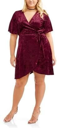 Derek Heart Juniors' Plus Short Sleeve Crushed Velvet Wrap Dress