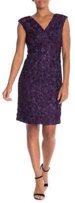 Marina Floral Applique Cap Sleeve Dress