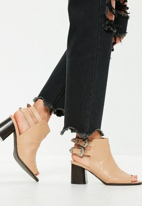 Missguided Nude Open Back Peep Toe Western Boots