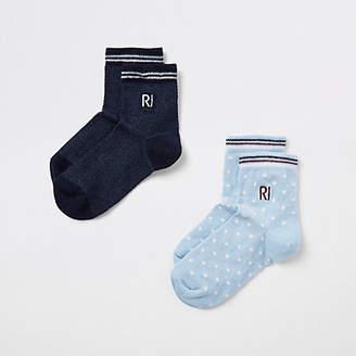 River Island Boys navy spot 'RI' embroidered socks pack