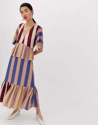 Lost Ink maxi smock dress in multi stripe