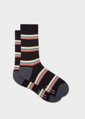 Paul Smith Men's Black Block-Stripe Cycling Socks
