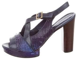 Tory Burch Embossed High-Heel Sandals