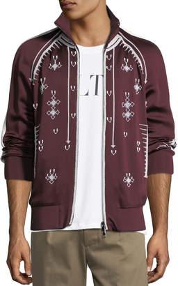 Valentino Beaded Zip-Front Track Jacket