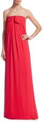 Halston Strapless Front-Tie Shift Gown