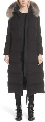 Moncler Bernache Hooded Down Coat with Removable Genuine Fox Fur Trim