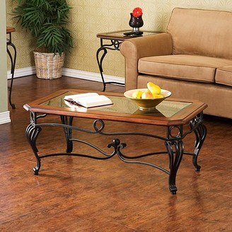 Southern Enterprises Aberdeen Coffee Table, Dark Cherry, Metal & Glass