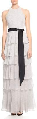 Halston Tiered Printed Sash-Detail Gown