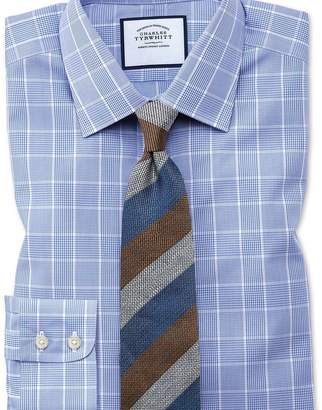 Charles Tyrwhitt Slim fit non-iron Prince of Wales mid blue shirt
