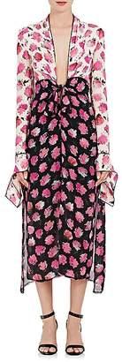 Proenza Schouler WOMEN'S FLORAL SILK GEORGETTE FITTED DRESS