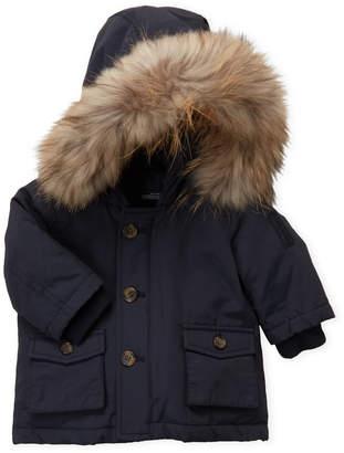 Baby Essentials Bomboogie (Newborn/Infant Boys) Navy Real Fur Trim Hooded Coat