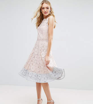Little Mistress Tall Allover Lace Midi Prom Skater Dress With Contrast Hem