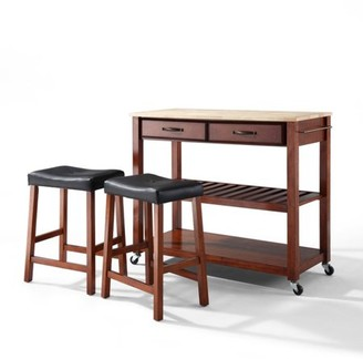 "Crosley Generic Furniture Solid Black Granite Top Kitchen Cart with 24"" Upholstered Saddle Stools"