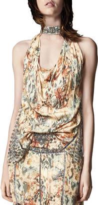 Haute Hippie The Orian Draped Halter Silk Tank w/ Embellishments