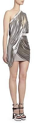 Balmain Women's Asymmetric Draped Foil Mini Dress