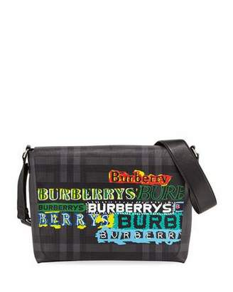 Burberry Men's Burleigh Logo-Graphic Check Messenger Bag
