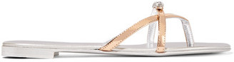 Giuseppe Zanotti - Crystal-embellished Metallic Leather Sandals - Silver $495 thestylecure.com