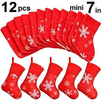 "Ivenf 12 Pack 7"" Plush Snowflake Mini Christmas Stockings Gift Card Bags Holders"
