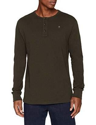 G Star Men's Starkon Granddad R T L\s Long Sleeve Top, (Dk Black 6484), XX-Large