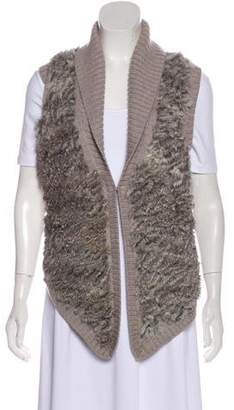 Haute Hippie Fur-Trimmed Wool Vest