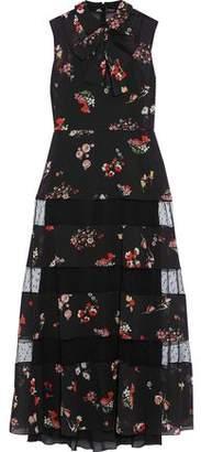 RED Valentino Pussy-Bow Point D'esprit-Paneled Floral-Print Silk-Blend Chiffon Midi Dress