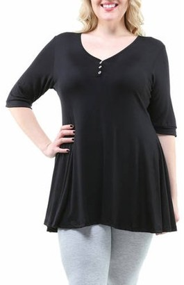 24/7 Comfort Apparel Women's Plus Size Henley Tunic Top