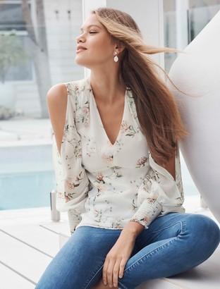 Forever New Selena Split Sleeve Blouse - Porcelain Bloom - 4