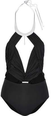 La Perla Cutout Metallic-Trimmed Ruched Halterneck Swimsuit
