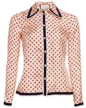 Gucci Silk Twill Button-Front Blouse