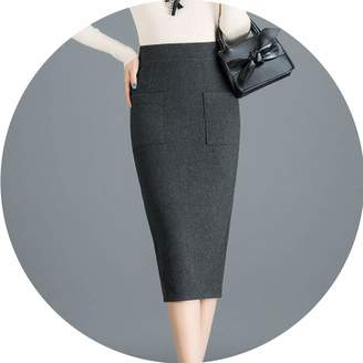 26cb298c196 Barry-Home skirt Women Woolen Skirts Winter Solid Color Pencil Skirt Female  Plus Size M