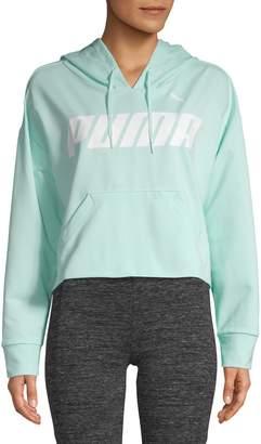 Puma Logo Cotton Blend Cropped Hoodie