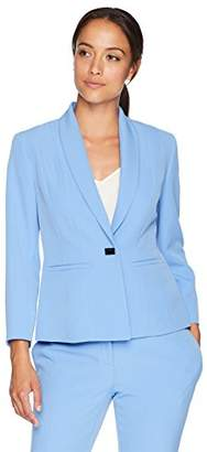 Kasper Women's Petite Stretch Crepe One Button Jacket with Notch Collar