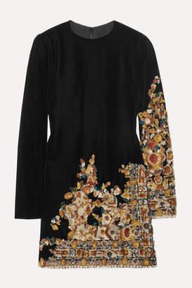 Oscar de la Renta Embroidered Velvet Mini Dress - Black